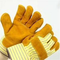 China Yellow Cow Split Leather Work Glove on sale