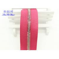 China High Polished Gold Long Chain Zipper Pink Polyester Tape For Garments / Bags on sale