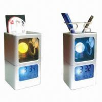 China LCD Light Calendar with Pen Holder, Business Card Case and Seven Color-changing Mood Clock wholesale
