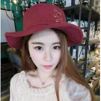 China Korean tie tassel woolen Bucket hat folding bowl cap winter winter warm winter hat on sale