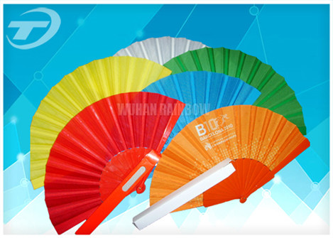 Quality Advertising or promotion hand held fan with plastic ribs and  fabric ,  can print logo or design on fabric for sale