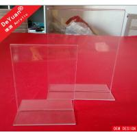 China Double Sides Clear Acrylic Display Stands / A4 Acrylic Table Tent Display wholesale