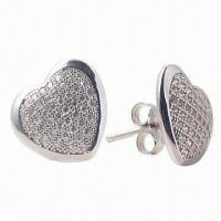 China Competitive (Low) Priced Silver Freshwater Pink Pearl Stud Earrings with CZ (Cubic Zirconium) wholesale