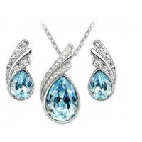 China Full Diamond Jewelry Set Gorgeous Leaf Earring Necklace Drops Design wholesale
