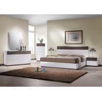 Buy cheap E1 Panel bedroom set / White High Gloss Bedroom Furniutre with Walnut Melamine from wholesalers