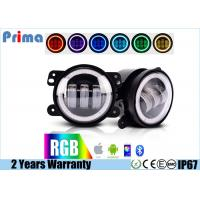 """China 4"""" Jeep Fog Lights  DRL RGB Halo Ring Fog lights  Assembly with Bluetooth Function for 1997-2017 Jeep Wrangler JK CJ LJ wholesale"""