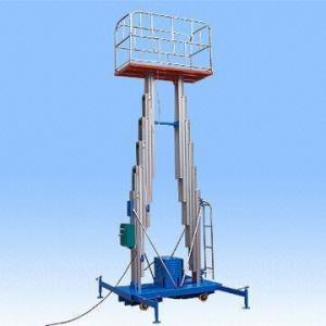 China Double mast hydraulic lifting work platform with 200kg capacity/aluminum structure/beautiful design wholesale