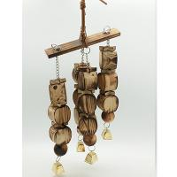 China natural bird toys with carbonized wooden beads and apple shape blcok for amazon wholesale