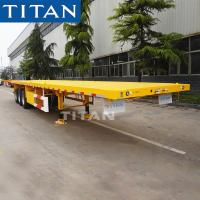 China TITAN tri axle shipping container commercial flatbed trailer for sale on sale