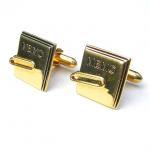 Custom Metal Gold Plated Cufflinks , Square Alphabet Sterling Silver Cufflinks For Men