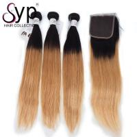 China Double Drawn Full Cuticle Aligned 2T Two Tone 1B/27 Color Ombre Straight Hair wholesale