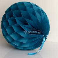 China Peacock Tissue Paper Honeycomb Balls Pom Poms With Satin Ribbon Loop For Hanging wholesale