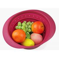 China Silicone Collapsible Over The Sink Colander With Handle/Folding Strainer For Draining Fruit wholesale