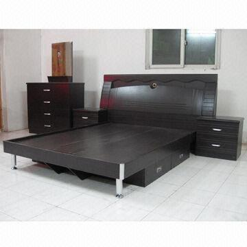 Quality Bedroom Set, 1,500 x 1,900mm, Available in Black Walnut Color, Made of MDF and PVC Vacuum for sale