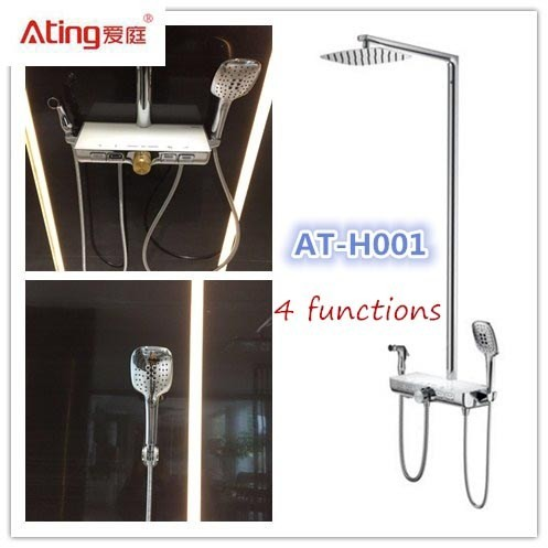 Quality AT-H001 thermostat controlled shower valves metal body stainless steel colour top shower 380x160mm big platform for sale