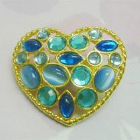 China Heart-shaped Shoe Accessory, Made of Alloy Casing, with Filigree Design wholesale