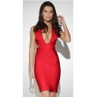 China Summer Sexy Deep V Neck Bandage Dress Red Color OEM / ODM Available wholesale
