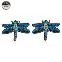 China 3D Fashionable Embroidered Bird Patches , Handmade Blue Dragonfly Iron On Applique wholesale