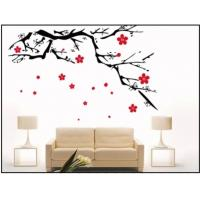 China Milk White Plum Blossom Nature Custom Wall Decals / Modern Wall Decals For Bed Room Decotation wholesale