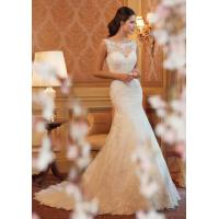 China White A Line Style Wedding Dresses / Custom Made Ivory Lace Wedding Dress wholesale