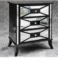 China Black Hollywood Mirrored Night Stands For Bedroom 4mm Mirror Thickness wholesale