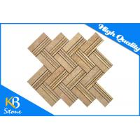 China Emperador Light Marble Mosaic Wall Tiles with Herringbone Shape , 10mm Thickness wholesale