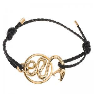 China Yellow Gold Snake Charm Bracelet , Custom 16 Cm 18K Gold Braided Leather Bracelet wholesale