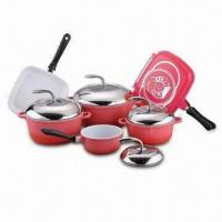 China Aluminum Cookware Set, Includes Double Frying/Sauce Pan/Stock Pot/Casserole Pot/Stainless Steel Lid wholesale