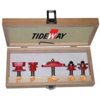 China 45# Carbon steel 5 - Piece cabinet door set router bit sets with red painted wholesale