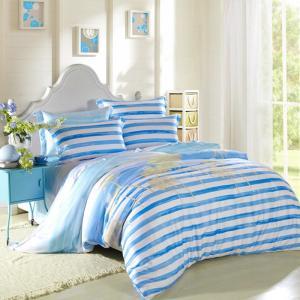 Buy cheap 子供の寝室の家の寝具は環境に優しく青/白黒しまのある寝具を置きます from wholesalers