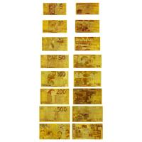 China New Euro Currency Replica Set Bank Note 24kt Gold Foil Banknote 8 Bills Set 5 - 1000 Euros wholesale
