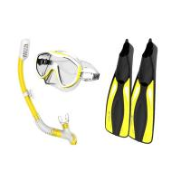 China Adults Diving Snorkel Set Yellow Color With Anti - Fog Coated Tempered Glass wholesale