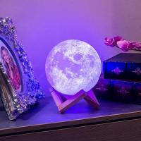 China Amazon sells well 10% Discount Most Popular Blue tooth3D Printing Moon Lamp with Original Wooden Stand Moon Shaped light wholesale