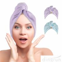 China Hair Towel Wrap Super Absorbent Hair Turbans for Women Quick Dry Hair Microfiber Towels wholesale