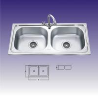 China Polished Stainless Steel Sinks For Kitchen , Double Bowl With Draining wholesale