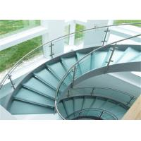 Buy cheap 316s.s indoor curved glass staricase with tempered glass railing top handrail from wholesalers
