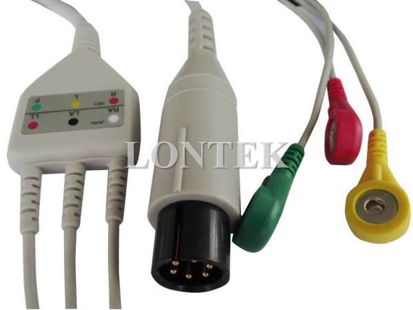Quality 3 Lead TPU ECG Patient Cable IEC One Piece Snap IEC for sale