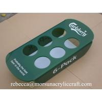 China Green plexiglass bottle holder 6 pack acrylic beer tray for counter display on sale