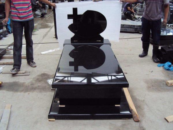 Quality Absolute Black Granite Memorial Headstones Retangular Upright / Other Shape for sale