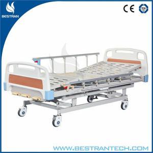 China Al - Alloy Side Rails Manual Medical Hospital Beds Height Adjustable I.V Pole on sale