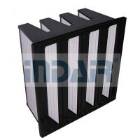 China Large Air Flow Terminal HEPA Filter Mini Pleat Design V Type With Plastic Frame on sale