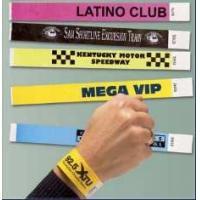 Red / Yellow Printed TYVEK Wristbands , Hospital / Dance Club Custom Plastic Wristbands