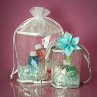 China White Round Organza Drawstring Bags for Promotional , Small Organza Gift Bags wholesale