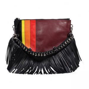 China Eco-friendly Chain Clutch Bags Stripe Clutch Handbag Tassel Purse Bag wholesale