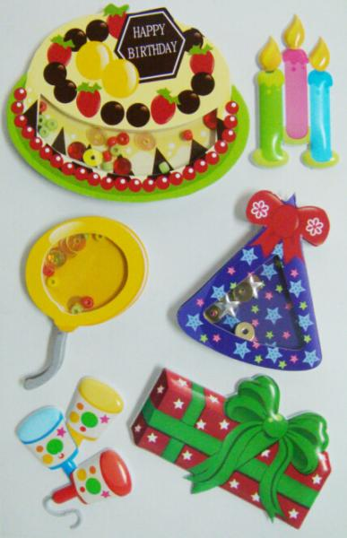 3d layered t shaker stickers colored birthday cake for children
