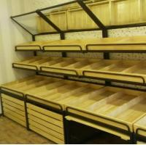 China Wooden Metal Food Wooden Display Rack / Vegetable Display Stand For Supermarket wholesale