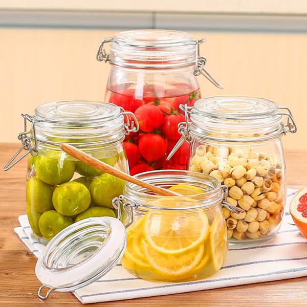 Quality Custom Airtight Square Glass Storage Bottle Jar With Clip Lids Various Size Available for sale
