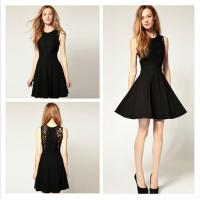 China Black Sexy Womens Cocktail Dresses , Lace Chiffon Sleeveless Club Mini Dress wholesale