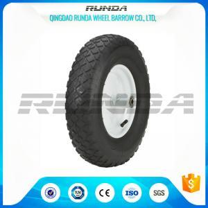"Quality Blocky Patterns Pneumatic Rubber Wheels 2PR ,  Hand Trolley Wheels8"" Steel Rim for sale"