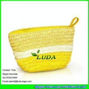 China LUDA new designer straw handbags yellow and white striped wheat straw pouch wholesale